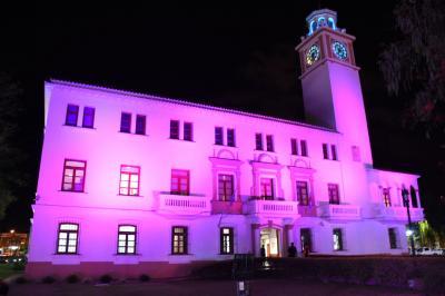 Casa de Gobierno iluminada de rosa por el día de la lucha contra el cáncer de mama