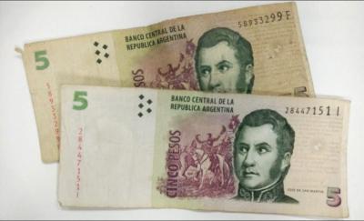 Adiós a los billetes de cinco pesos
