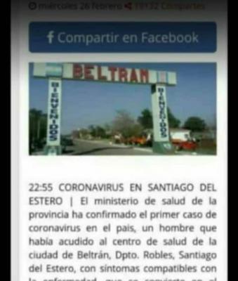 Desmienten falsa noticia sobre un supuesto caso de Coronavirus en Beltrán