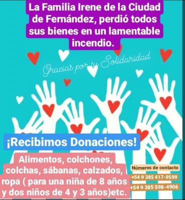 Piden donaciones para una familia de Fernández que perdió sus bienes en un incendio
