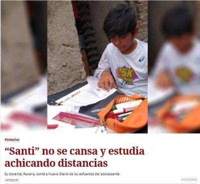 Niño de Morcillo recibió un celular para poder estudiar gracias a La red de Rugby Solidario