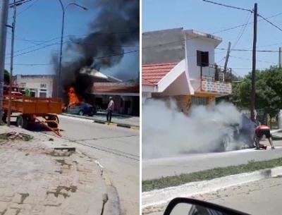 Video en las redes: así fue el incendio del auto de alta gama en Fernández