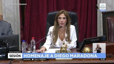 La Dra. Claudia Zamora presidió parte del homenaje que el Senado realizó a  Diego Armando Maradona