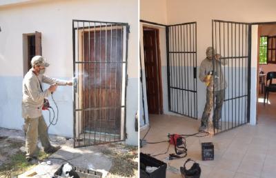 Refuerzan seguridad en aberturas de la Escuela Nº 1226 del paraje Puesto Nuevo