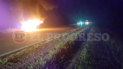 Se incendió un automóvil a orillas de la ruta 34 cerca del acceso a Vilmer