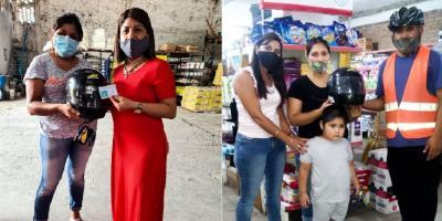 Comerciantes de Fernández se suman a la campaña de concientización sobre el uso del casco