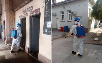Desinfectan instituciones y espacios públicos en Fernández