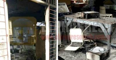 Beltrán: Un incendio destruyó gran parte del Colegio Francisco Maradona