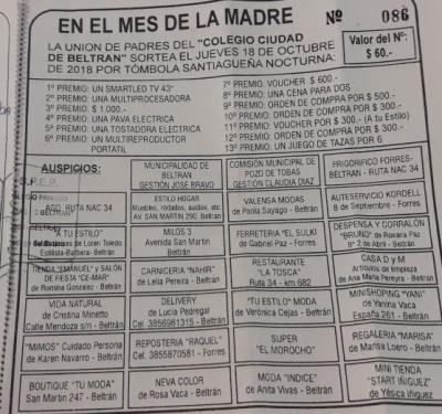 La rifa del colegio Ciudad de Beltrán se sorteará el 9 de Noviembre