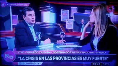 El gobernador de la provincia Gerardo Zamora habló con Viviana Canosa este jueves en el programa Nada Personal